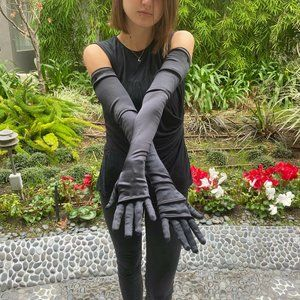 CHANEL Black Silk Long Opera Style Cocktail Gloves